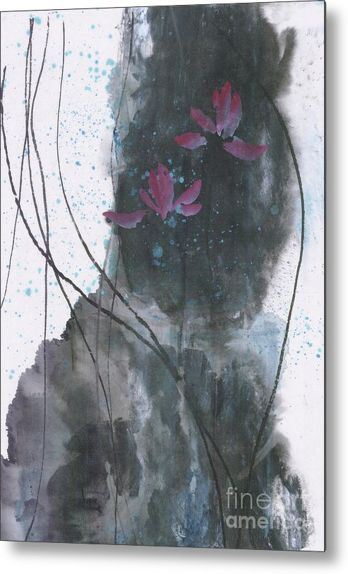 Lotus Emerged Out Of The Sludge Metal Print featuring the painting Lovely Lotus by Mui-Joo Wee