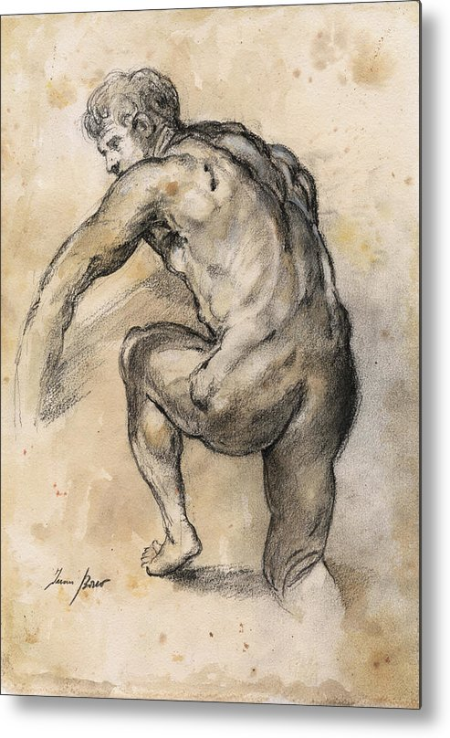 Nude Art Metal Print featuring the painting Male nude drawing by Juan Bosco