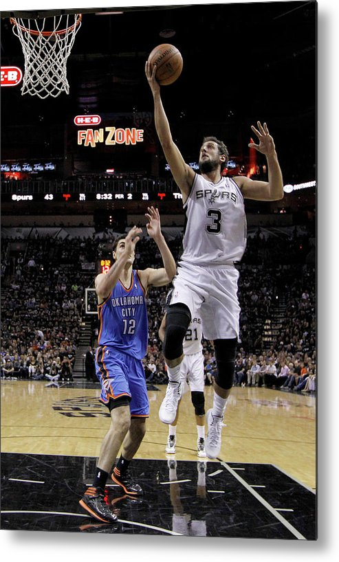 Playoffs Metal Print featuring the photograph Marco Belinelli and Steven Adams by Chris Covatta