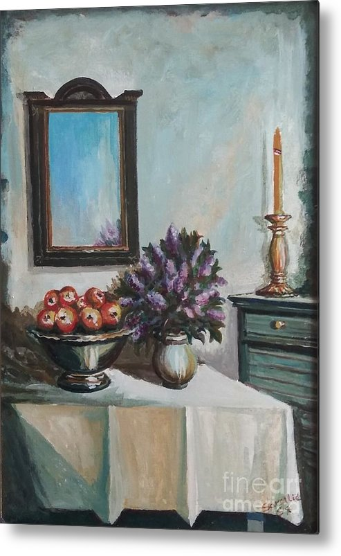 Still Life Metal Print featuring the painting Old Memories 2 by Sinisa Saratlic