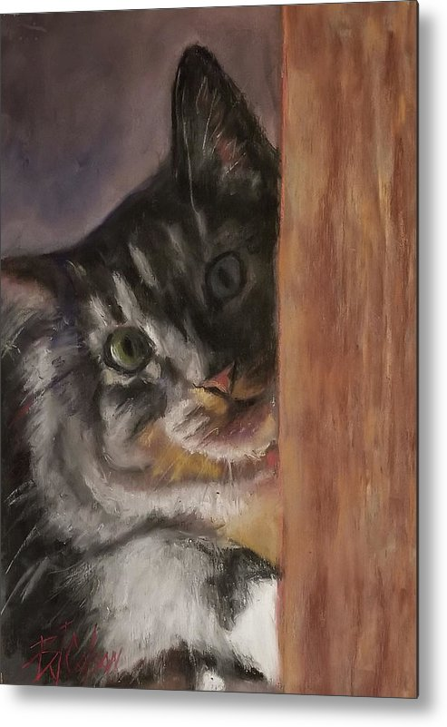 Cat Metal Print featuring the pastel Peek a Boo by Billie Colson