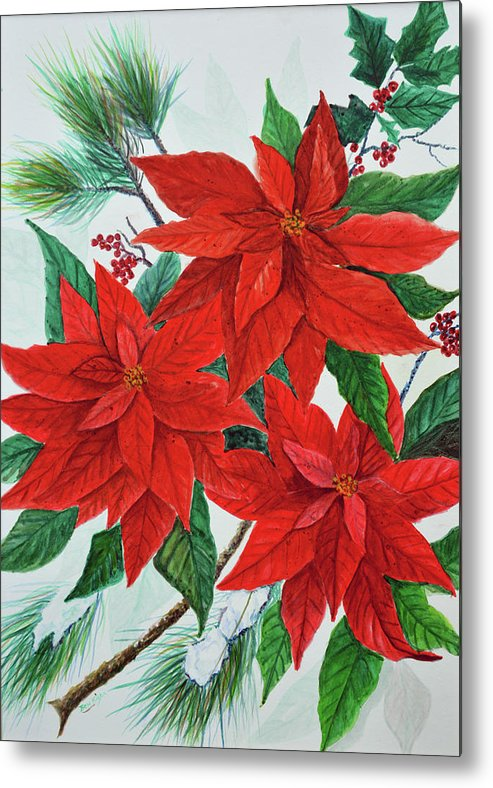 Poinsettias Metal Print featuring the painting Poinsettias by Ben Kiger
