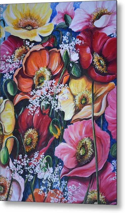 Poppies Metal Print featuring the painting Poppies Delight by Karin Dawn Kelshall- Best