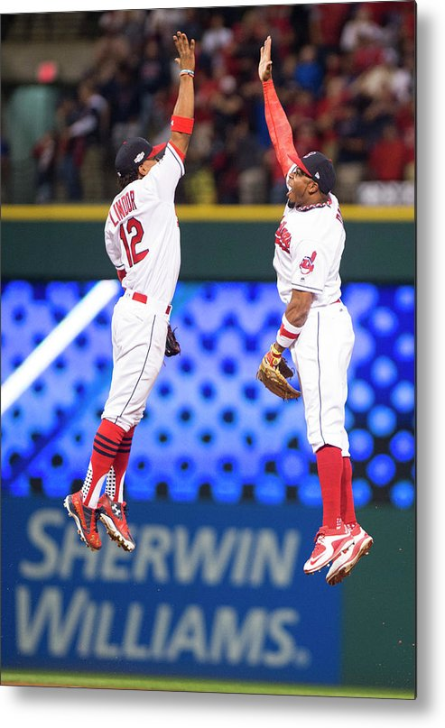 People Metal Print featuring the photograph Rajai Davis and Francisco Lindor by Michael Ivins/boston Red Sox