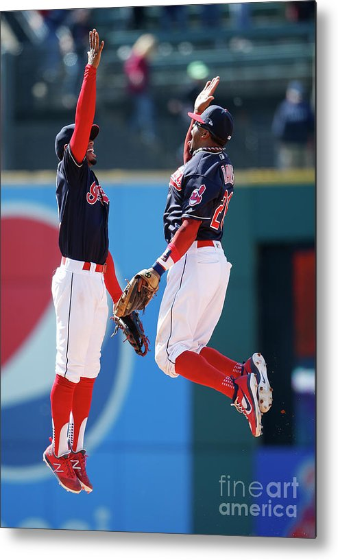 People Metal Print featuring the photograph Rajai Davis and Francisco Lindor by Ron Schwane