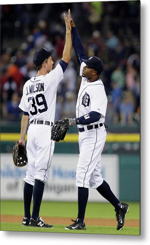People Metal Print featuring the photograph Rajai Davis and Josh Wilson by Duane Burleson