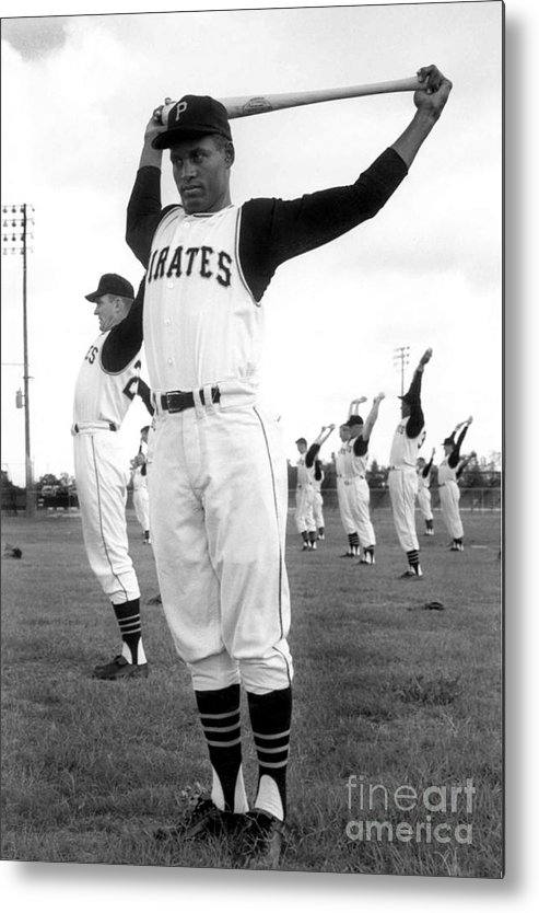 1950-1959 Metal Print featuring the photograph Roberto Clemente by National Baseball Hall Of Fame Library