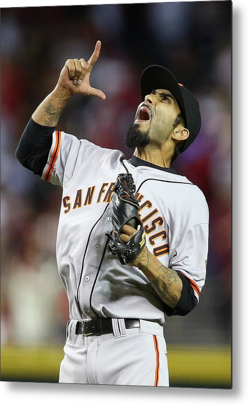 Relief Pitcher Metal Print featuring the photograph Sergio Romo by Christian Petersen