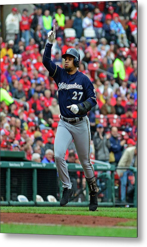 Thank You Metal Print featuring the photograph Shelby Miller and Carlos Gomez by Jeff Curry