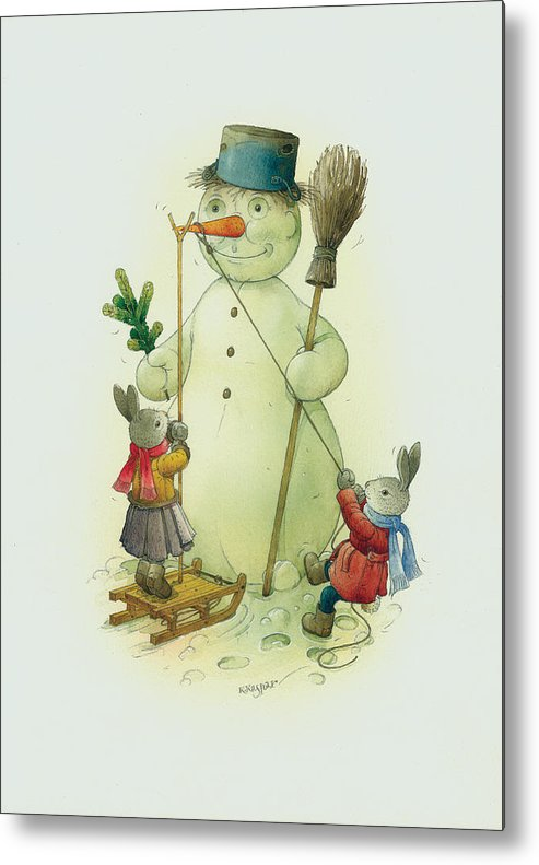 Christmas Snowman Winter Rabbit White Holiday Metal Print featuring the painting Snowmann and Rabbits by Kestutis Kasparavicius