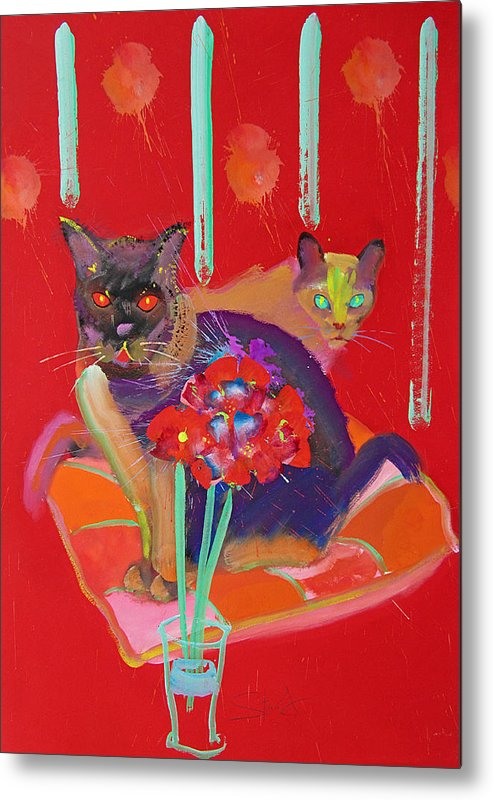 Burmese Cat Metal Print featuring the painting Symphony In Red Two by Charles Stuart