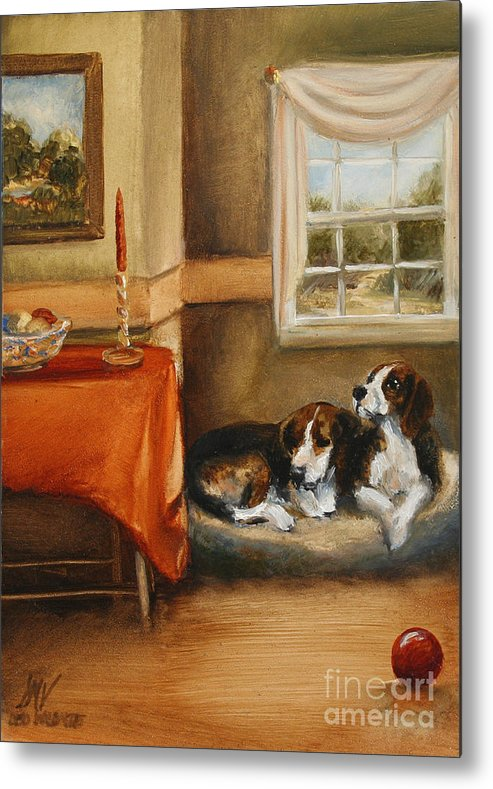Beagle Metal Print featuring the painting Waiting For The Mistress by Stella Violano