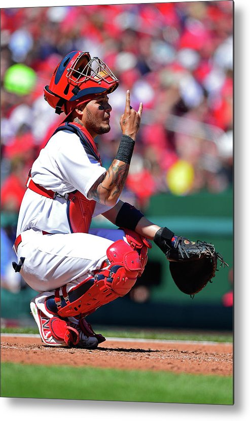 St. Louis Cardinals Metal Print featuring the photograph Yadier Molina by Jeff Curry