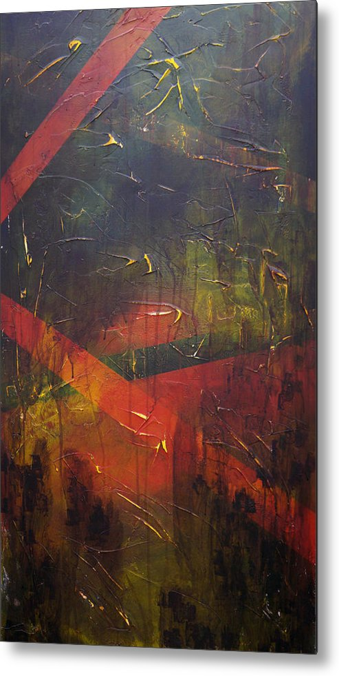 Abstract Metal Print featuring the painting Komposition z by Sergey Bezhinets