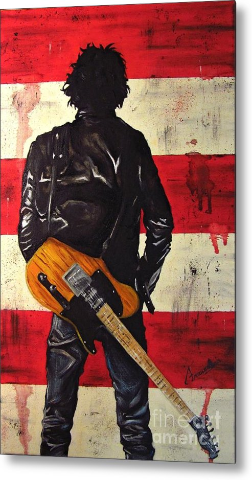 Bruce Metal Print featuring the painting Bruce Springsteen by Francesca Agostini