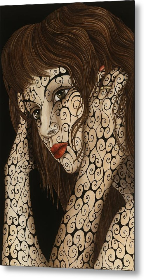 Figurative Metal Print featuring the painting Jezebel by Tina Blondell