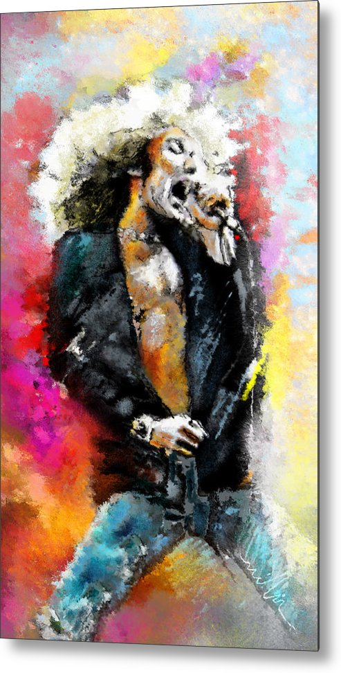 Music Metal Print featuring the painting Robert Plant 03 by Miki De Goodaboom
