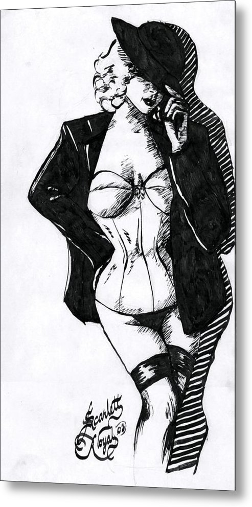 Dancer Metal Print featuring the drawing The Tease by Scarlett Royal