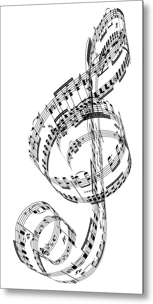 Sheet Music Metal Print featuring the digital art A Treble Clef Made From Beethovens by Ian Mckinnell