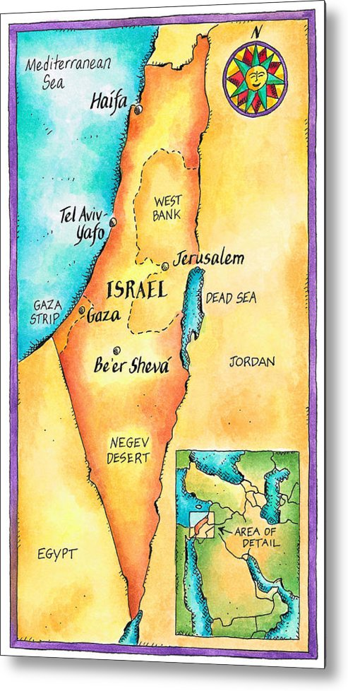 Watercolor Painting Metal Print featuring the digital art Map Of Israel by Jennifer Thermes