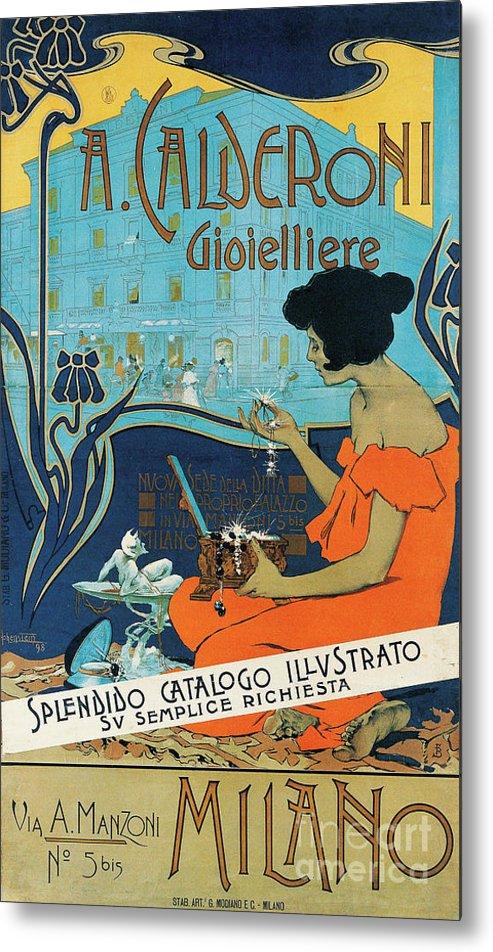 Diamond Metal Print featuring the painting A Calderoni Gioielliere, Milan, 1898 by Adolfo Hohenstein