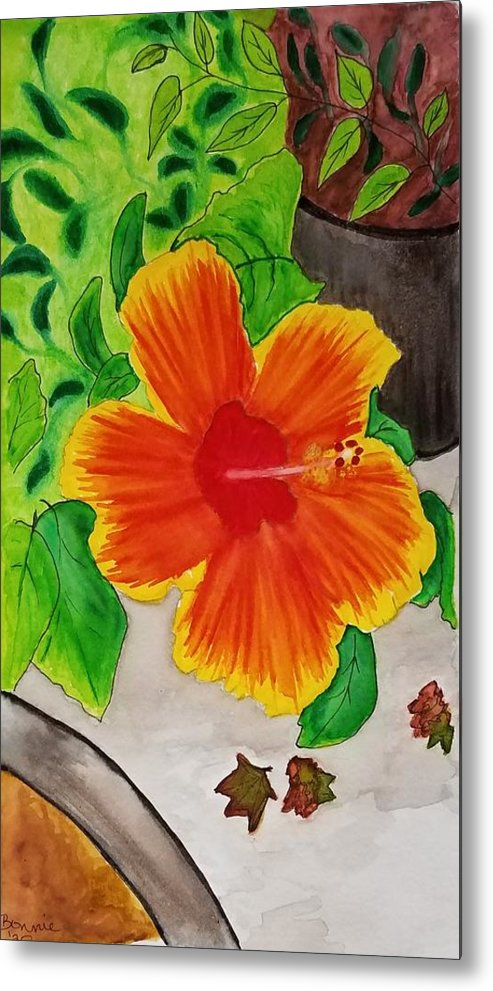 Flower Metal Print featuring the mixed media Hibiscus by Bonnie McKeegan