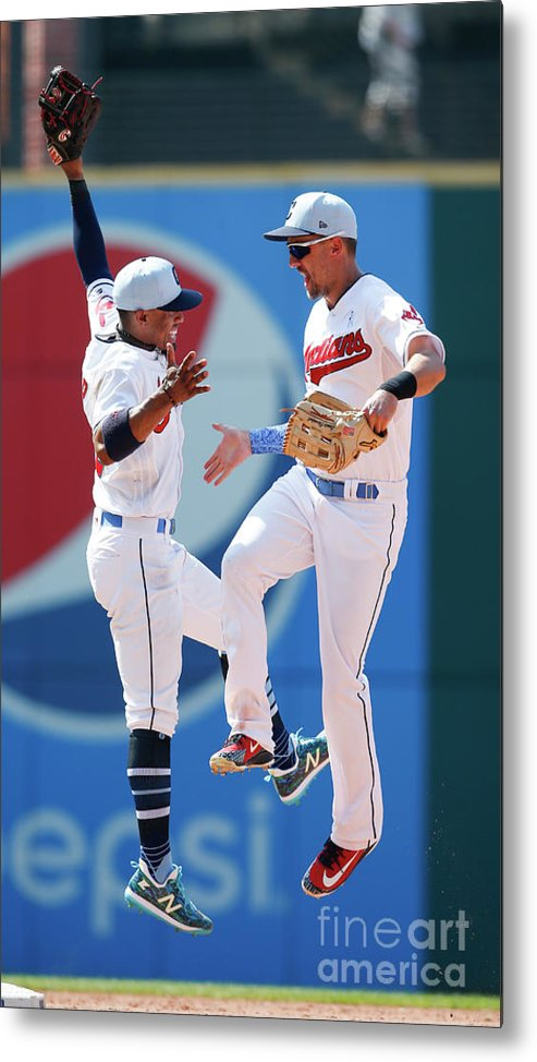 People Metal Print featuring the photograph Lonnie Chisenhall and Francisco Lindor by Ron Schwane