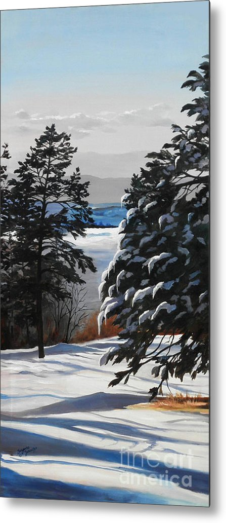 Winter Scene Metal Print featuring the painting Winter Serenity by Suzanne Schaefer