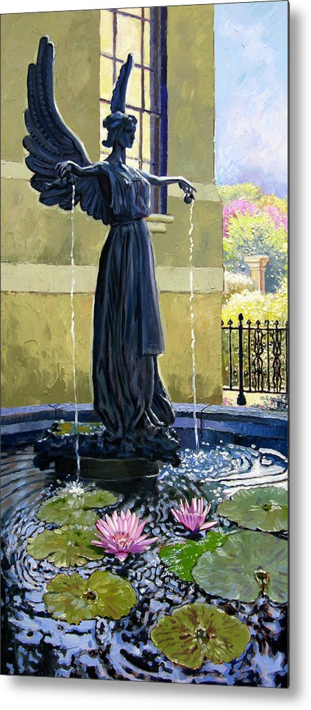 Garden Fountain Metal Print featuring the painting Living Waters by John Lautermilch