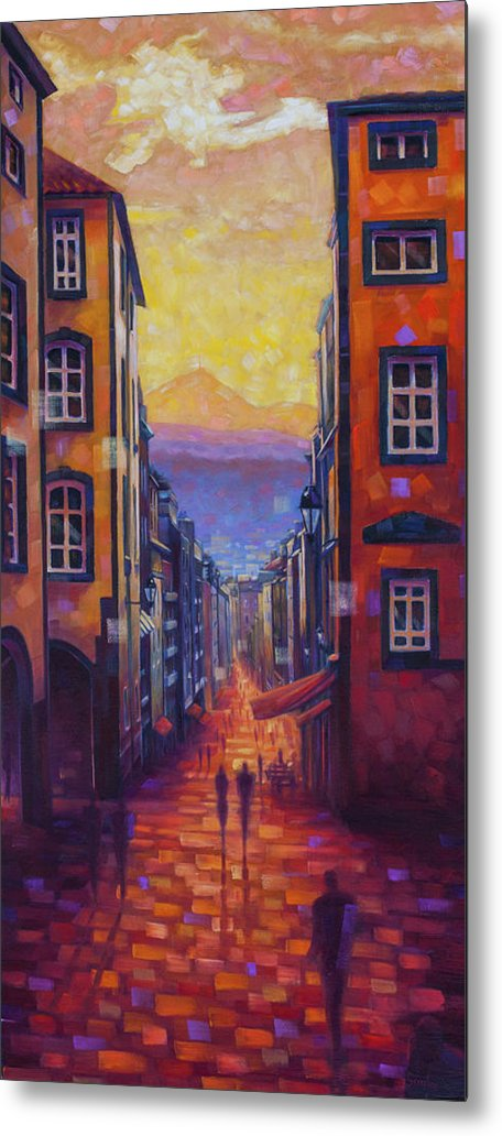Clermont-ferrand Metal Print featuring the painting Rue des Gras by Rob Buntin