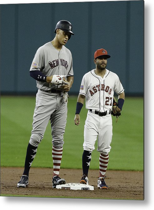 People Metal Print featuring the photograph New York Yankees v Houston Astros by Bob Levey