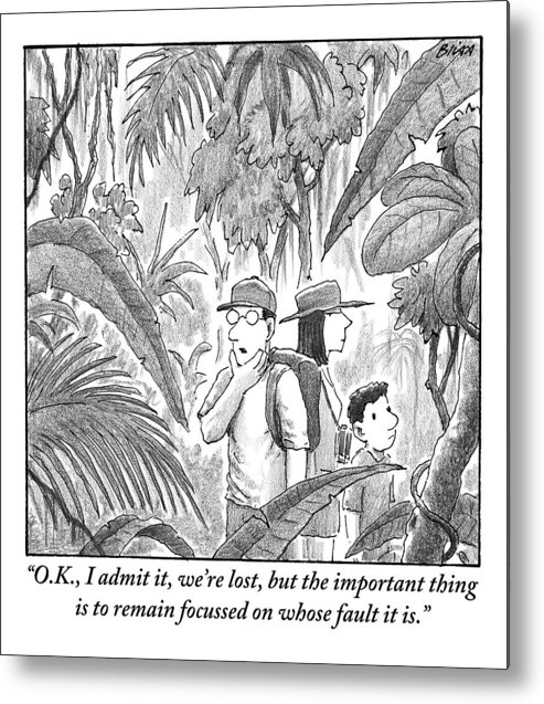 Lost Metal Print featuring the drawing A Family Is Lost In The Depths Of A Jungle by Harry Bliss
