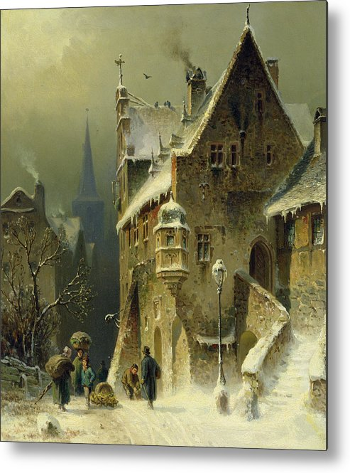 Schlieker Metal Print featuring the painting A Small Town in the Rhine by August Schlieker