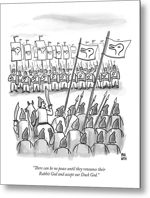 War Metal Print featuring the drawing An Army Lines Up For Battle by Paul Noth