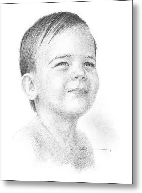 <a Href=http://miketheuer.com Target =_blank>www.miketheuer.com</a> Metal Print featuring the painting Baby Boy Pencil Portrait by Mike Theuer