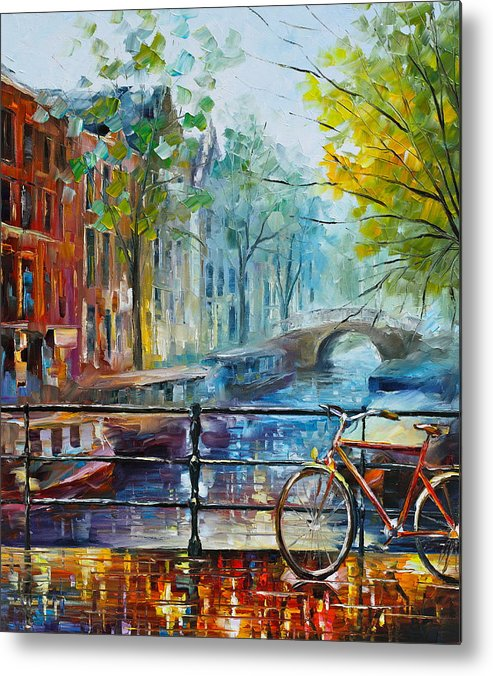 Amsterdam Metal Print featuring the painting Bicycle in Amsterdam by Leonid Afremov