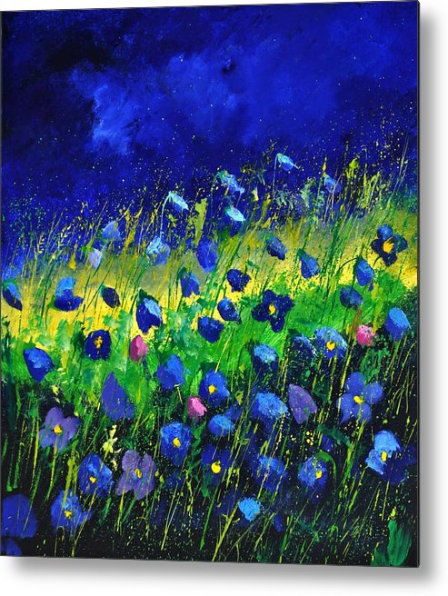 Landscape Metal Print featuring the painting Blue poppies 674190 by Pol Ledent