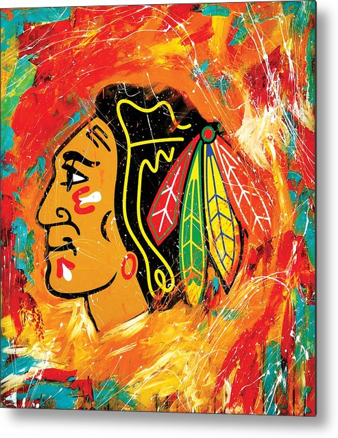 Sports Metal Print featuring the painting Chicago Blackhawks logo by Elliott Aaron From