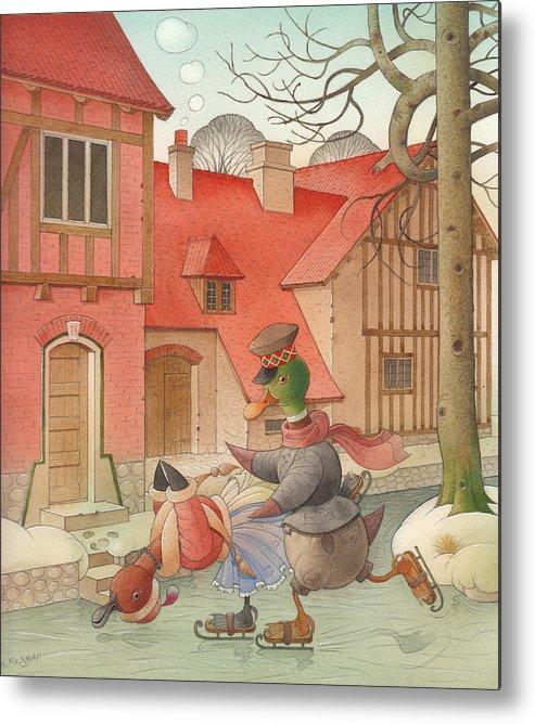 Christmas Metal Print featuring the painting Dancing Ducks by Kestutis Kasparavicius