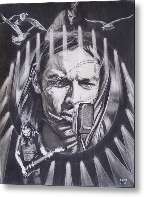 Charcoal On Paper Metal Print featuring the drawing David Gilmour Of Pink Floyd - Echoes by Sean Connolly