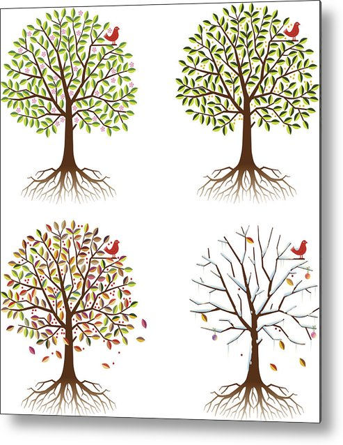 Environmental Conservation Metal Print featuring the digital art Four Seasons In One Tree by Johnwoodcock