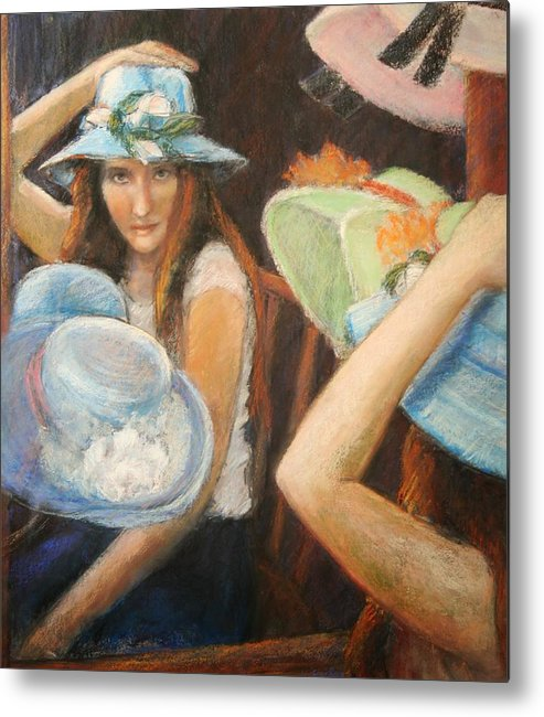 Metal Print featuring the painting Hats by Helen Hickey