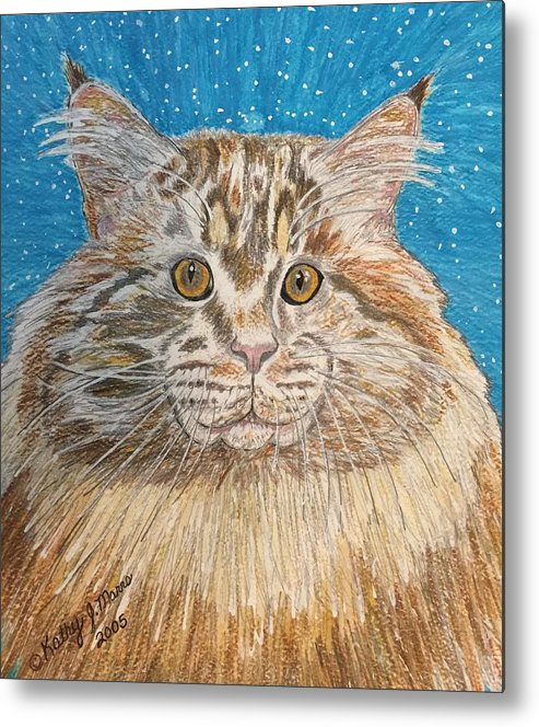 Maine Metal Print featuring the painting Maine Coon Cat by Kathy Marrs Chandler