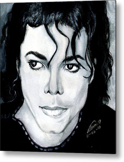 Michael Jackson Metal Print featuring the painting Michael Jackson Portrait by Alban Dizdari