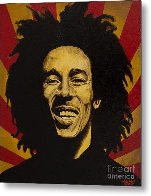 Bob Marley Metal Print featuring the painting Nesta Robert Marley by Lamark Crosby
