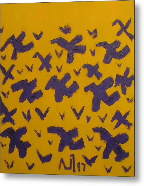 Abstract Birds Metal Print featuring the painting No. 169 by Vijayan Kannampilly