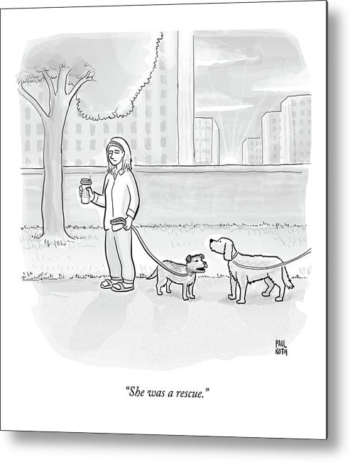 Dogs Metal Print featuring the drawing One Dog Talks To Another by Paul Noth