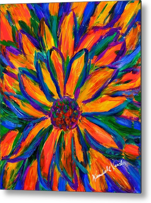 Sunflower Metal Print featuring the painting Sunflower Burst by Kendall Kessler