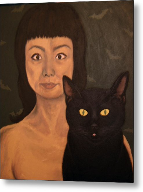 Portrait Metal Print featuring the painting Lana and Pinky by Lana Cheng