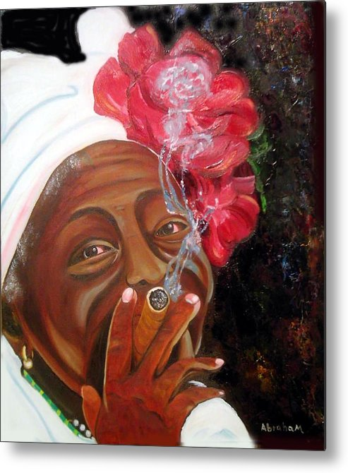 Cuban Art Metal Print featuring the painting Tobacco Lady by Jose Manuel Abraham